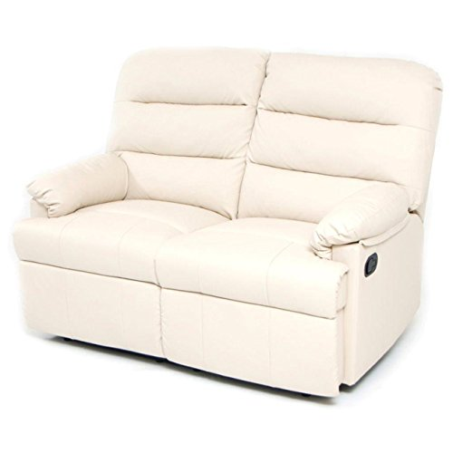Divano divanetto 2 posti con reclinatore manuale in eco pelle my living mara crema