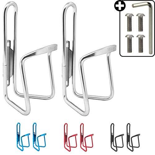 HiLo sports 2er Set Fahrrad Flaschenhalter | 4 Schrauben + Werkzeug | 4 Farben (Silber)