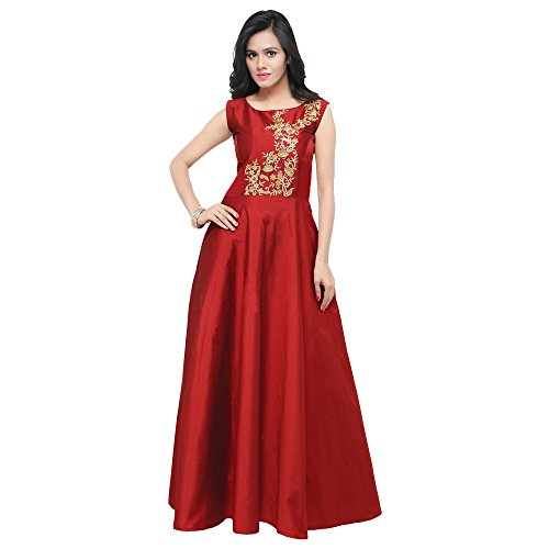 Purva Art Women's Taffeta Silk Blouse Work Stitched Long Gown For Girls...