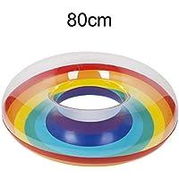 ZHANGJIANJUN Piscinas inflables de Flotación Rainbow Ring Adulto Nadar en Verano Piscina Circular Piscina de Agua Anillos para Niños Adultos,80cm.