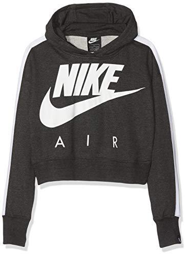 Nike Mädchen G NSW Crop PE AIR Sweatshirt, Black Heather/White, L - Air Pullover