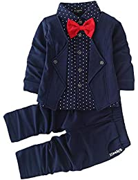 Hopscotch Si Noir Boys Cotton Blazer Style Shirt and Pant Set in Navy Color
