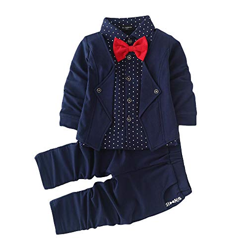 Si Noir by Hopscotch Boy's Cotton Blazer, Shirt and Pant Set (SN-1569904, Navy, 2-3 Years)