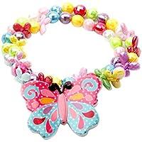 FENICAL Conjunto de Pulsera de Collar de Mariposa de acrílico Conjunto de Collar de Estiramiento de luz para niñas pequeñas de bebé
