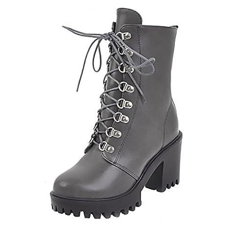 UH Damen Schnür Stiefeletten High Heels Blockabsatz Plateau Boots mit Fell und Nieten 8cm Absatz Warm