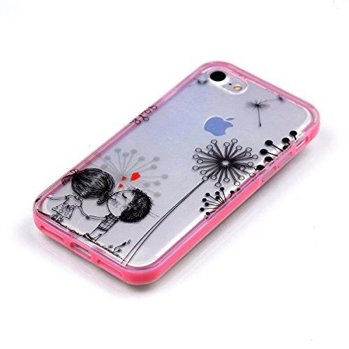 Custodia iPhone 7 , Cozy Hut Cover iPhone 7 Silicone Trasparente TPU Flessibile Sottile Bumper Case per Apple iPhone 7 Ultra Sottile Anti Graffi Silicone Cover Protettivo Pelle Guscio Paraurti Copertu Dandelion Lover