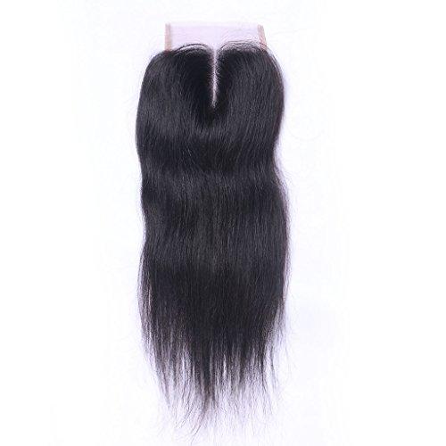 Partie au milieu Noir naturel 100% cheveux humains Vierge Suisse en dentelle fermeture décolorés 10,2 x 10,2 cm soyeux droite