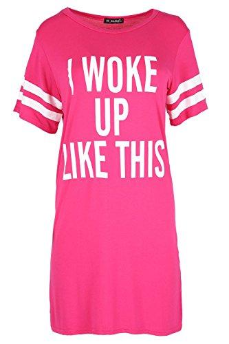 Fashion Star Womens Stripes T Shirt Short Sleeve I Woke Up Like This Baggy Top Dress