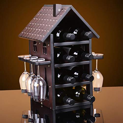Lyx1,portabottiglie vino decorazione creativa per espositori da vino in vetro massiccio in legno massello