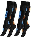 """Lot de 2 paires de chaussettes hautes de ski/snowboard - renfort spécial - d'origine de """"VCA®"""""""