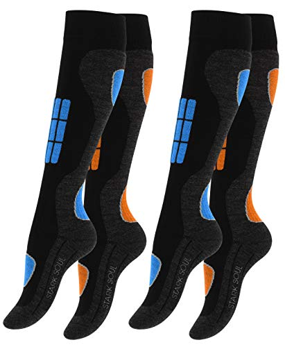 VCA 2 Paar SKI Funktionssocken, Wintersport Socken mit Spezial Polsterung (35/38, blau/orange)