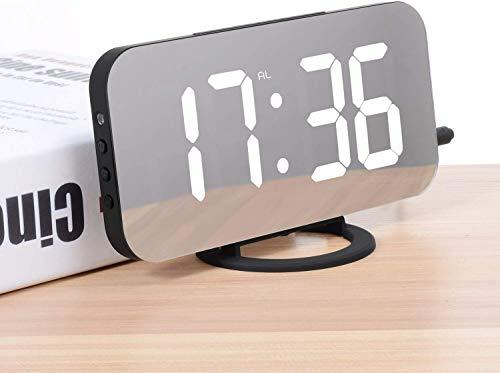 ADORIC Réveil Numérique, reveil Matin LED Miroir Horlogue Digitale Réveil de Chevet Réveil Matin, Lumière de Nuit, Luminosité Réglable