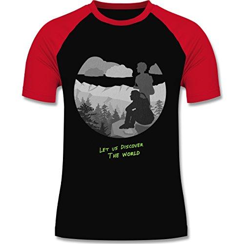 Statement Shirts - Backpacker - zweifarbiges Baseballshirt für Männer Schwarz/Rot