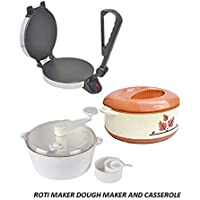 Shivay International Combo of Eagle Silver Roti Maker with Dough and Casserole (Colour May and Vary)