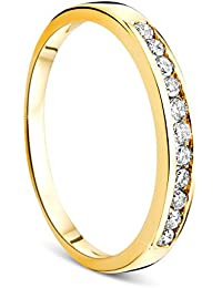 Orovi Women Eternity Ring 9 ct/375 Yellow Gold Wedding Band With Brilliant Cut Diamonds 0.20 ct