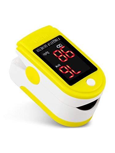 healthgood Finger-Clip-Oximeter, tragbares medizinisches genaues Pulsoximeter zur Überwachung der Sauerstoffsättigung für zu Hause Deutlich sichtbare LED-Anzeige Einfach zu bedienen (Yellow)