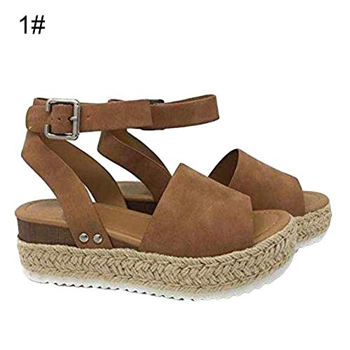 mothcattl Women Summer Straw Ankle Strap Open Toe Fish Mouth Wedge Platform Sandals Shoes Dark Brown 36 Womens Dark Brown Croc