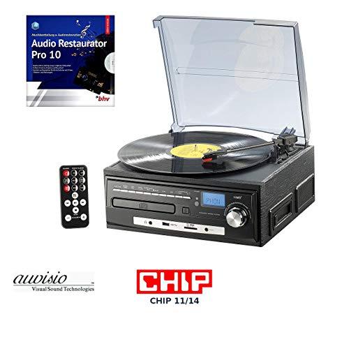 auvisio Kassetten digitalisieren: Kompakt-Stereoanlage MHX-550.LP für Schallplatte, CD, MC, MP3 (Plattenspieler CD Kassette Radio)