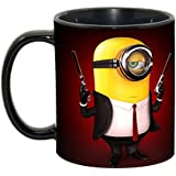 Best Minion Style Coffee Mug, Glossy Finish Ceramic Black Coffee Mug For Friends, Girlfriend, Boyfriend & Gift,family With Glossy Finish Vibrant Print 350 Ml Capacity