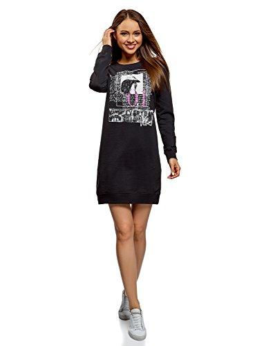 oodji Ultra Femme Robe de Sport avec Imprimé, Noir, FR 44 / XL