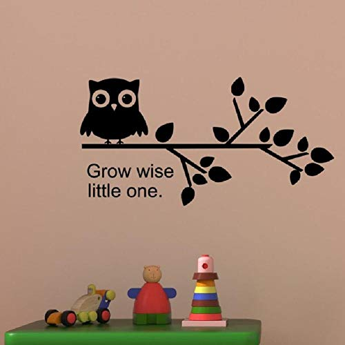 JXweilele Etiqueta de la pared etiqueta de vinilo búho rama de árbol vivero oferta crecer sabio pequeño un niño niño niña niño habitación sala de juegos decoración 57X29 cm