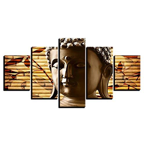 ZYBKOG Leinwandbild 5 Leinwand Malerei Kunst Religion Antike Drucke 5 Stück Klassische Buddha Feierlichen Buddhismus Poster Wohnkultur