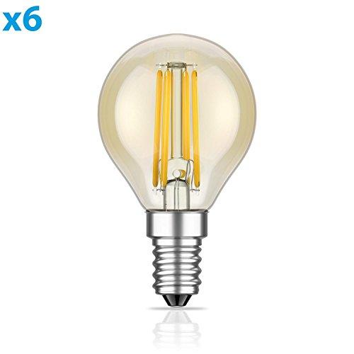 ledscom E14 LED Birne Filament G45 Vintage gold 4W =35W 380lm extra-warm-weiß für innen und außen, 6 Stk.