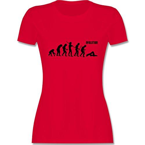 Evolution - Pilates Evolution - tailliertes Premium T-Shirt mit Rundhalsausschnitt für Damen Rot