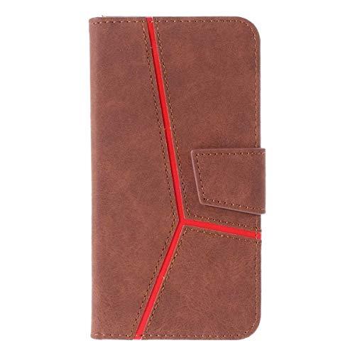Galaxy S7 Hülle, DENDICO Leder Handyhülle Wallet Case für Samsung Galaxy S7 Schutzhülle Klapphülle mit Magnetic Snap und Kartensteckplätze - Braun Design Snap Case