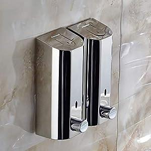 Dispensador de jabón doble de acero inoxidable GOPG montado en la pared, dispensador manual de jabón líquido para gel de ducha, champú y loción