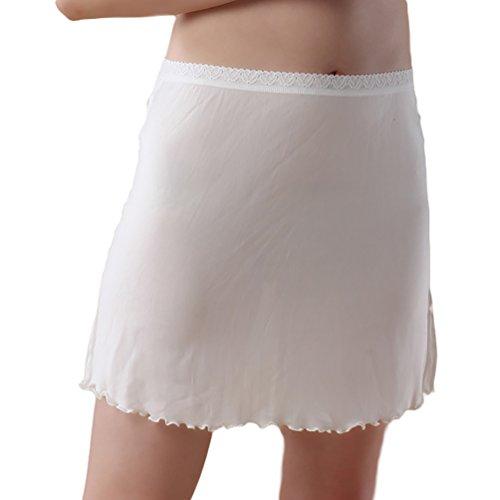 Baymate Damen Underwear Stricken Knielanger Unterrock Unterkleid Weiß M
