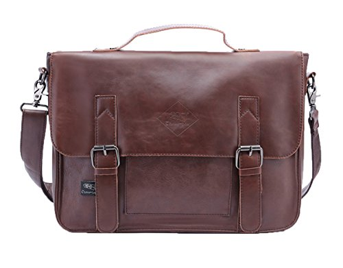 Santimon Herren PU Lederner Retro Crossbody Beutel Schultaschen Freizeit Schulter Tasche Laptop Handtasche Dark Braun