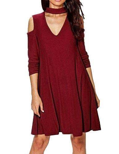 Modetrend Femme Robe Manches Longues Mode Féminine Casual En Vrac Party Vintage Mini Dress Halter Casual Vestidos Rouge