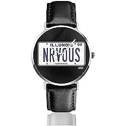 Unisex Business Casual Ferris Bueller Nrvous Nummernschild Uhren Quarz Leder Uhr