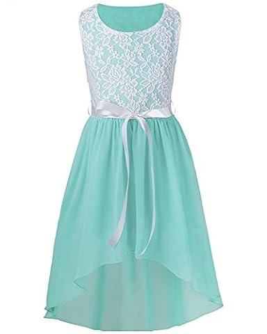 iiniim Girl's Sleeveless Asymmetrical Chiffon Dress Party Graduation Communion Girly Clothes (12 Years, Light