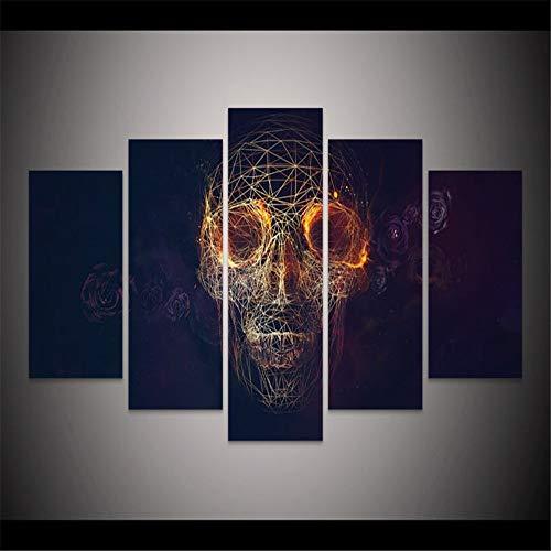 DZSLTC Geometrische Schädel Gesicht Malerei Halloween Wohnkultur Bild Wohnzimmer Wand-dekor Frameless Malerei Canvas,30 * 40cm (Halloween Für Malerei-schädel-gesicht)