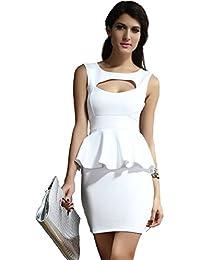 Ostenx KLEINE COCKTAILKLEID Stretchkleider MINIKLEID ABENDKLEID PARTYKLEID KLEID Dress Club Hohle-heraus Brust Schößchen KleidGr. S/M 36 38