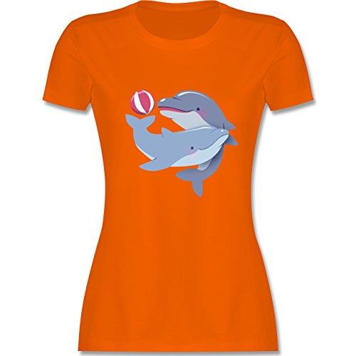 Wildnis - Delfine - tailliertes Premium T-Shirt mit Rundhalsausschnitt für  Damen Orange