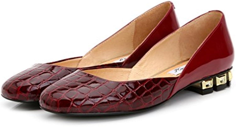 Xianshu Femmes en cuir verni talon épais bouche peu peu peu profonde chaussures platesB074H2N26WParent 45a4f2