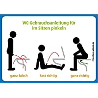 4x WC Gebrauchsanleitung für Im Sitzen pinkeln - Wie man's macht und wie nicht (Im Sitzen pinkeln lustig)