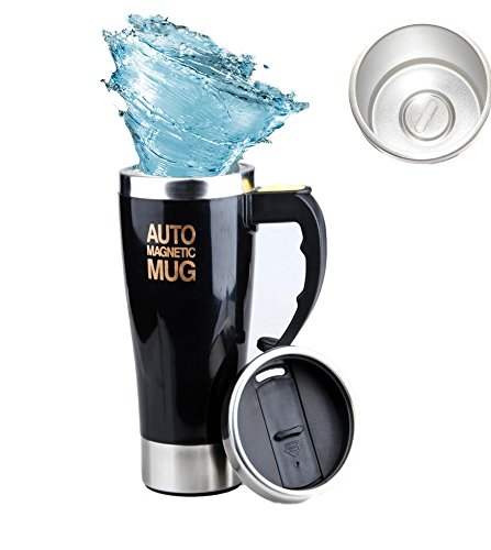 Mengshen Magnetische Rühren Tasse Auto Magnetic Mug 450ml Double Layer Stainless Steel Self Stirring Magnet Coffee Cup for Travel Office, A008M Black -