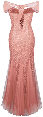 Angel-fashions Femme Halter perle Bateau Mesh robe de soiree sirene rose-orange