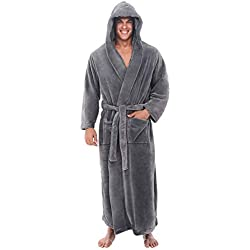 OSYARD Homme Peignoir de Bain, Robe de Chambre Kimono Tissage Vêtements avec Capuche Poches de Nuit Col V Pyajama S-5XL