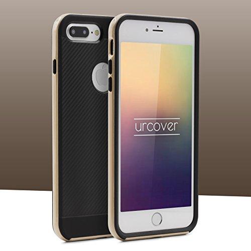 Étui iPhone 7 Plus Hybrid Case, Urcover Housse de Protection Apple iPhone 7 Plus Coque Téléphone [Bumper Menthe Verte] Armor Case Look Carbone Anti-choc Or