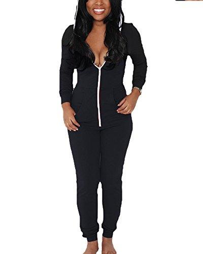 Femme Hoodie Sweat-Shirt Zipper Survêtement Ensemble De Sportwear Avec Pantalon Noir