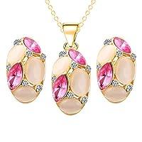 Luxury Colorful Opal Crystal Dimaond Pendant Jewelry Set