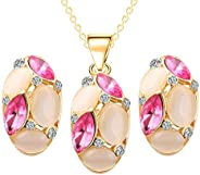 Luxury Colorful Opal Crystal Dimaond Pendant Jewelry Set