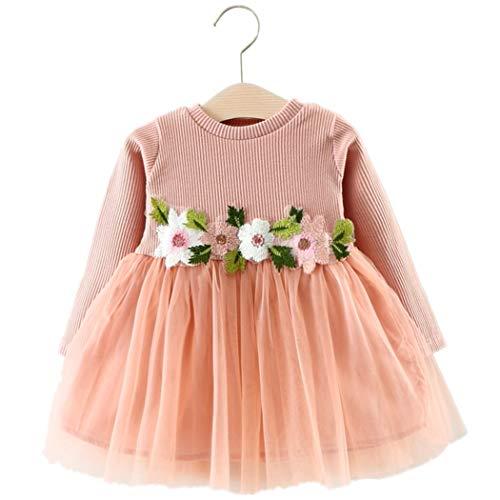 Baby Mädchen Kleider, Allskid Herbst Gestrickt Langarm Bluse Nähen Tutu Rock Taille Blume Dekor Rosa Prinzessin Girls Dress