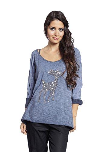 Abbino 6968 Basics Damen Shirts Tops - Made in Italy - 4 Farben - Herbst Winter Übergang Damenshirts Tops Baumwolle Pailletten Unifarbe Lässig Langarm Sexy Sale Freizeit Elegant - One size Blau