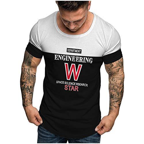 BHYDRY Herren Sommer Mode Lässig Komfort Druck Kurzarm T-Shirt Bluse Tops(X-Large,Schwarz-A) -